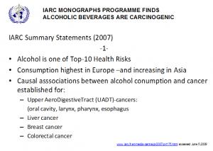 Abb. 5  IARC Monograph klassifiziert alkoholische Getränke als krebserregend -1-